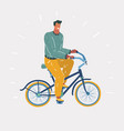 man on bike isolated background vector image vector image
