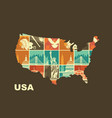 map of the usa with traditional symbols stylized vector image vector image