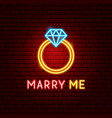 marry me neon label vector image vector image