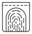 monitor fingerprint icon outline style vector image