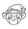 monkey in Santas hat chinese new year 2016 outline vector image vector image