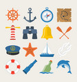 nautical sea related icon set in flat style vector image