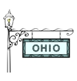 Ohio retro pointer lamppost vector image vector image