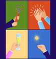 peoples hands with objects vector image vector image