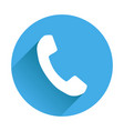 phone icon in flat style on round blue background vector image vector image
