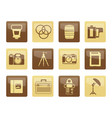 photography equipment icons over brown background vector image