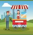 pop corn booth cart vector image