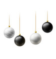 realistic black and white christmas balls hanging vector image vector image