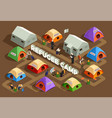 reception camp isometric background vector image