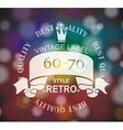 retro label with ribbon and crown vector image