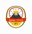 royal label with cartoon king with beard and crown vector image vector image