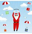 santa claus on a parachute vector image