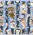 seamless pattern with cute baanimals on vector image vector image