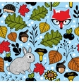Seamless pattern with cute fox and small hare in vector image vector image