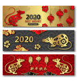 set chinese cards with symbol rat new year 2020 vector image vector image