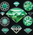 Set of green diamond vector image vector image