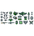 set of military emblems stripes and badges vector image