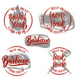 set of steak house emblem templates barbecue vector image