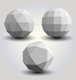 set of white polygonal spheres vector image
