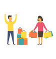 shopaholic woman buying too much angry husband vector image