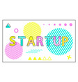 startup poster geometric figures in linear style vector image vector image