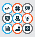 team icons set with contract man on top deadline vector image vector image
