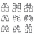 travel binoculars icons set outline style vector image vector image