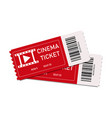 two red cinema tickets isolated on white vector image