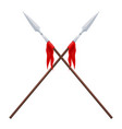 two spears on a white background crossed vector image vector image