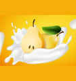 two yellow pears and yogurt milk splashes vector image
