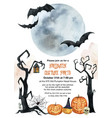 watercolor invitation to a halloween party vector image