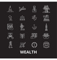 wealth editable line icons set on black vector image vector image