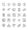 web design and development doodle icons vector image vector image