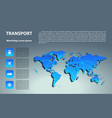 world map with different marks and transport vector image vector image
