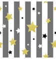 Black white and gold stars seamless patterns vector image