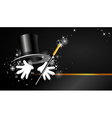 Background with top hat magic wand and hand vector image vector image
