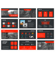 black slides template with red elements for vector image vector image