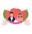 bride and groom love hearts doves ribbon wedding vector image vector image