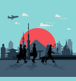 business man is walking for traveling vector image vector image
