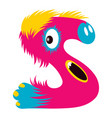 cartoon capital letter s from monster alphabet vector image vector image