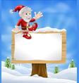 cartoon santa christmas sign vector image vector image