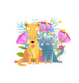 cat and dog with flowers flat vector image