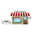 classic cozy coffee house with a red and white vector image vector image