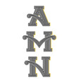 collection letters a m n vintage monograms set vector image