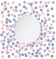 Confetti backdrop with white banner Rose quarts vector image vector image