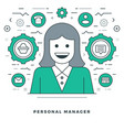 flat line personal manager and support vector image vector image