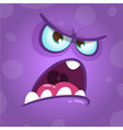 funny angry cartoon monster face vector image vector image