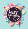greeting birthday card with cupcakes and cakes vector image
