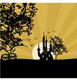 Halloween background with haunted house vector image vector image