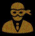 hexagon halftone masked thief icon vector image vector image